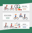 flat bicycle colorful horizontal banners vector image vector image