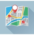 Folding Paper Map with Location Marks Flat Icon vector image