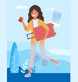 girl is a tourist running with a suitcase vector image
