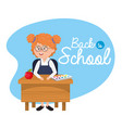 girl student in the desk with notebook and apple vector image vector image