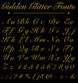 glitter golden handwritten fonts alphabet number vector image