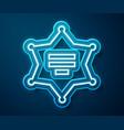 glowing neon line hexagram sheriff icon isolated vector image vector image