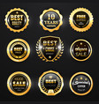gold badge label and stamp seal 3d icons vector image vector image