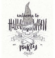 halloween poster with zombie head in witch hat vector image vector image