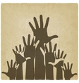 hands up symbol old background vector image vector image