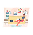 home remote work cartoon calm woman operating vector image