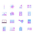 icons set syringe hpv virus cell and microscope vector image vector image