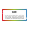 innovative colorful quotation template frame in vector image vector image