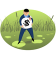 Investor on shaky ground vector image vector image