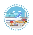Loading Freight Containers in a Cargo Plane vector image vector image