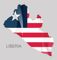 map liberia with an official flag on white vector image vector image