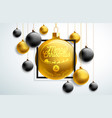 merry christmas with gold and black vector image