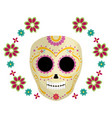 mexican skull death mask with flowers vector image