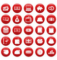 money icons set vetor red vector image
