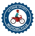 motorcycle extreme sport badge design vector image vector image