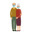 old married couple wearing protective medical vector image vector image