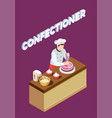pastry chef isometric background vector image vector image