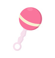 Pink baby rattle vector image vector image