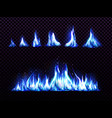 realistic blue fire set for animation torch flame vector image vector image