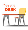 school desk empty table chair school vector image