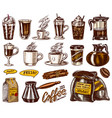 Set cups coffee in vintage style take away