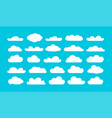 set different cartoon clouds on blue sky vector image vector image