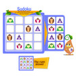 shapes game sudoku owl vector image vector image