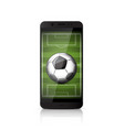 smatrphone with soccer ball vector image vector image