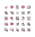 social network like filled outline icon set vector image vector image