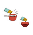 spaghetti noodles preparation steps icon vector image vector image