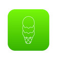 three balls ice cream icon green vector image