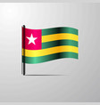 togo waving shiny flag design vector image vector image