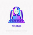 video call line icon opened laptop with woman vector image