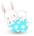 white rabbit with sweet pastel easter egg cartoon vector image