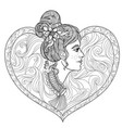 young beautiful girl coloring page vector image vector image