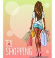 young woman with shopping bags background