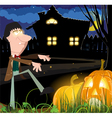 Zombie near the haunted house vector image vector image