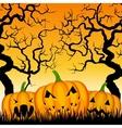three pumpkins and trees vector image