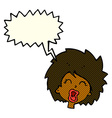 cartoon woman screaming with speech bubble vector image