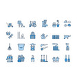 06 blue linear gardening icons set vector image vector image