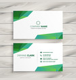 abstract white business card with green shapes vector image vector image