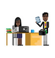 african secretary working at laptop vector image vector image