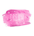 believe word with stars on pink brush pain vector image