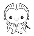 black and white cartoon cute dracula mascot vector image