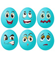 Blue egg expressions vector image vector image