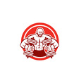 Bodybuilder Lifting Dumbbell Circle Retro vector image