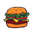 burger hand drawn fast food logo vector image vector image