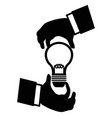 businessman hand holding idea light bulb vector image