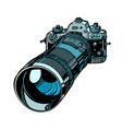 camera with telephoto lens isolate on white vector image
