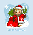 cheerful baby bull in santa claus clothes vector image